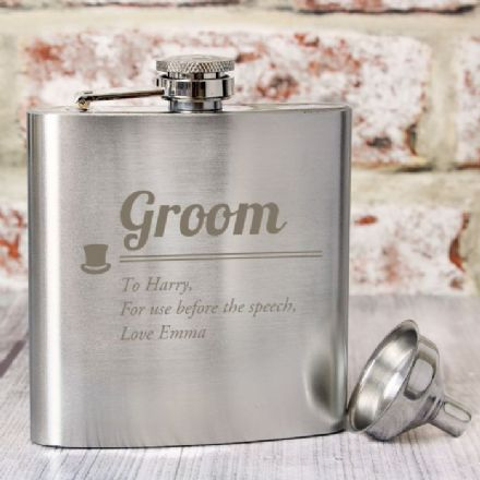 Personalised Groom Hip Flask